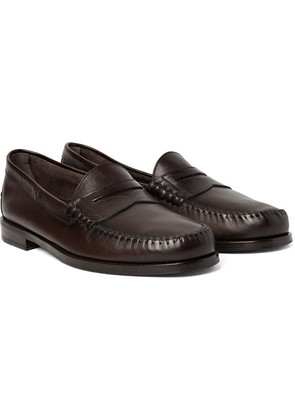 TOM FORD - Crewe Leather Penny Loafers - Dark brown
