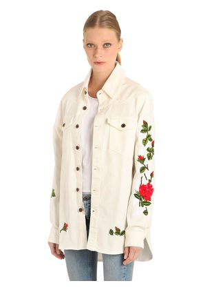 ROSES EMBROIDERED COTTON DENIM SHIRT