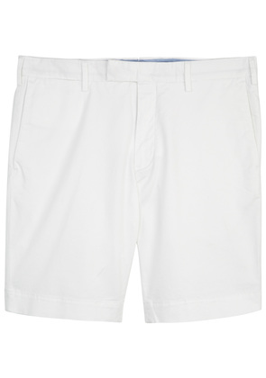 White stretch cotton shorts