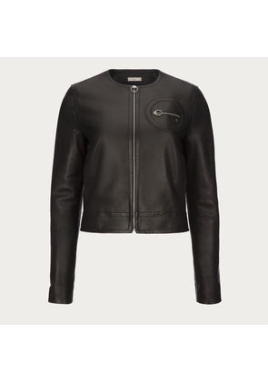 Bally Nappa Leather Biker Jacket Black, Women s calf leather jacket in black