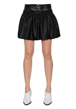 COTTON RODEO SKIRT W/ LEATHER WAISTBAND
