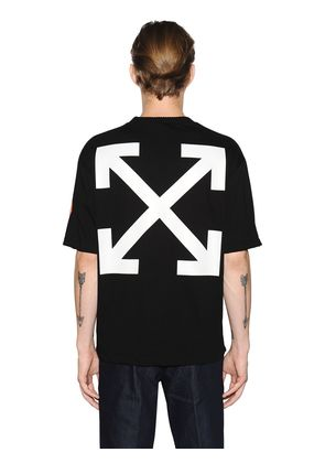 OFF WHITE COTTON JERSEY T-SHIRT