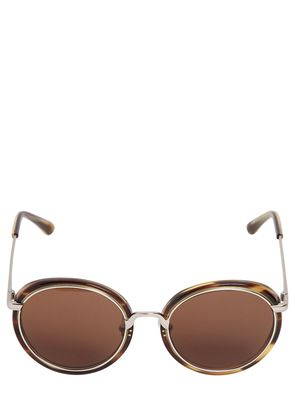 ACETATE & METAL ROUNDED SUNGLASSES