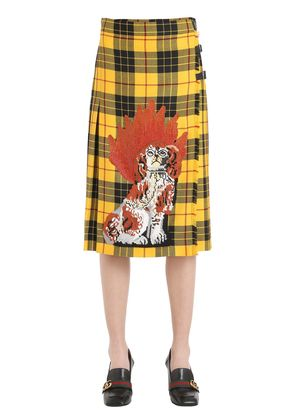 DOG EMBROIDERED PLAID WOOL SKIRT