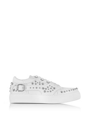 Jimmy Choo - Roman White Leather Low Top Sneaker w/Studs