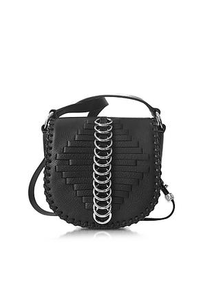 Alexander Wang - Mini Lia Black Woven Leather Shoulder Bag w/Rings