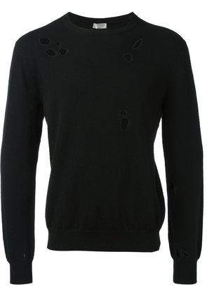 Dior Homme perforated trim jumper, Men's, Size: Medium, Black