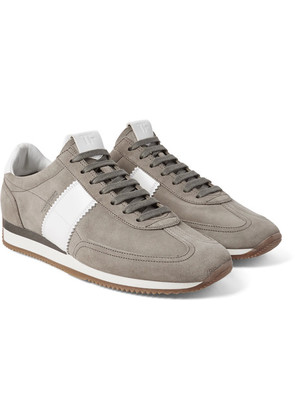 TOM FORD - Orford Leather-panelled Suede Sneakers - Gray
