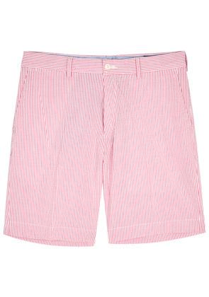 Pink striped seersucker shorts