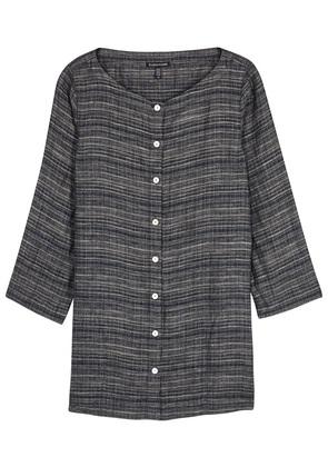 Grey striped linen shirt