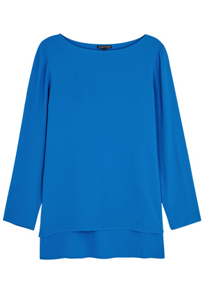 Blue silk crepe top