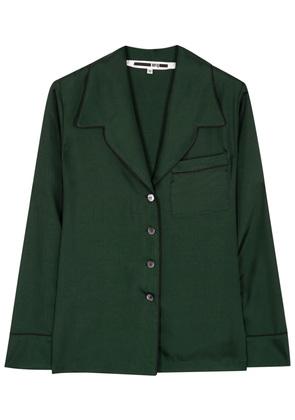 Dark green piped satin shirt