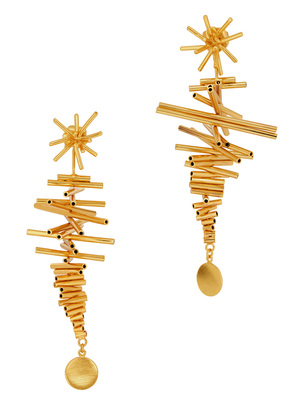 Ego I 24kt gold-plated drop earrings
