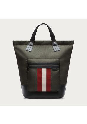 Bally Crowley Green, Men s printed nylon tote bag in dark evergreen