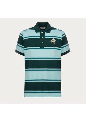 Bally Embroidered Flower Polo Shirt Green, Men s cotton polo in multi-jaguar