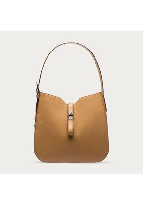 Bally Hobo B Turn Beige, Women s leather hobo bag in cuir