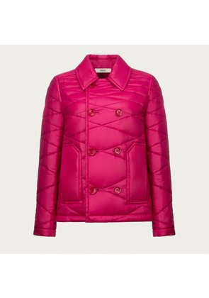 Bally Double Breasted Quilted Jacket Pink, Women s nylon jacket in magenta