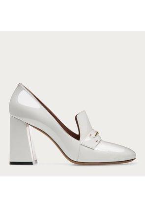 Bally Lisina White, Women s patent leather block heel pump in white