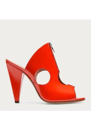 Bally Halda Orange, Women s patent leather mule sandal in orange punch