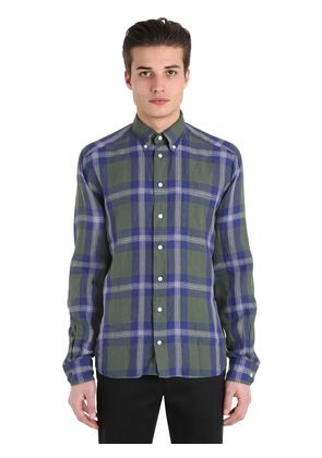 SLIM FIT PLAID COTTON BUTTON DOWN SHIRT
