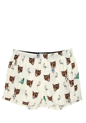PRINTED FOX COTTON BOXER BRIEFS