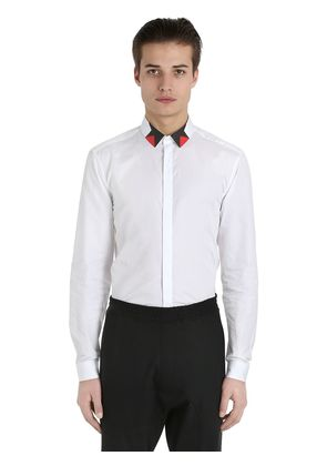 COTTON POPLIN SHIRT WITH PRINTED COLLAR