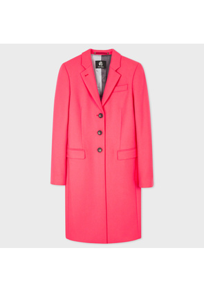 Women's Bright Pink Wool-Cashmere Epsom Coat