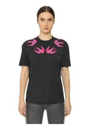 EMBROIDERED SWALLOW COTTON T-SHIRT