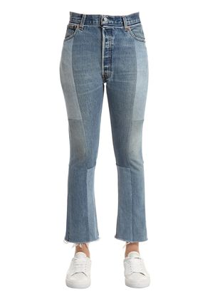 PATCH SEAMED HIGH RISE DENIM JEANS
