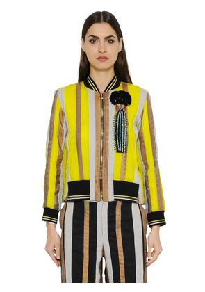 EMBROIDERED COTTON ORGANDY BOMBER JACKET