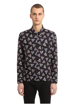 TRIANGLE PRINT COTTON SHIRT WITH ZIP