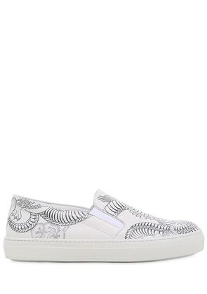 20MM DOUBLE T TATTOO LEATHER SNEAKERS