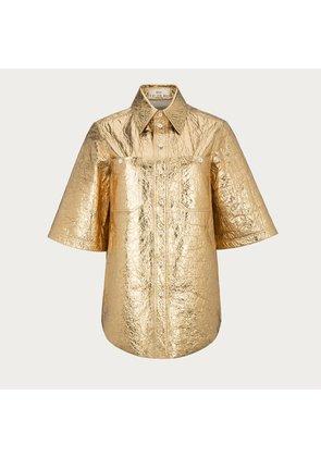 Bally Metallic Short Sleeved Shirt Metallic, Women's leather shirt in gold