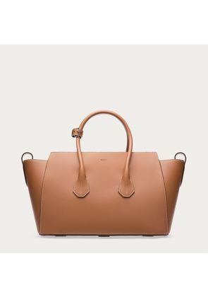 Bally Sommet Medium Beige, Women's leather top handle bag in tan