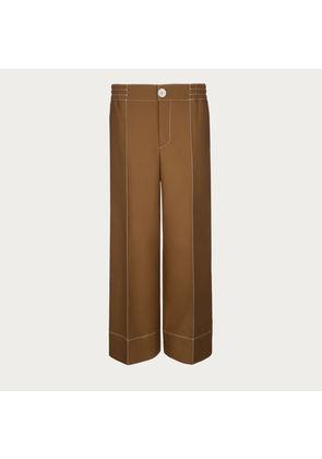 Bally Wide Legged Twill Trousers Brown, Women's wool twill trousers in urban cowboy