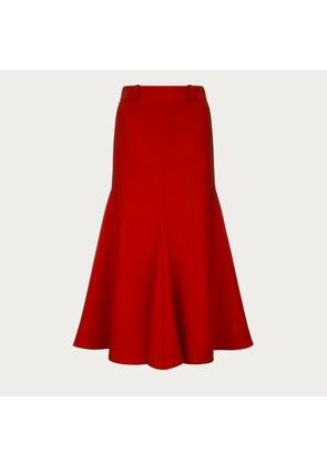 Bally Wool Mermaid Skirt Orange, Women's wool skirt in orange punch