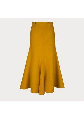 Bally Wool Mermaid Skirt Orange, Women's wool skirt in curry