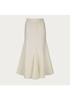 Bally Wool Mermaid Skirt White, Women's wool skirt in bone