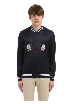 DRAGONS EMBROIDERED SATIN BOMBER JACKET