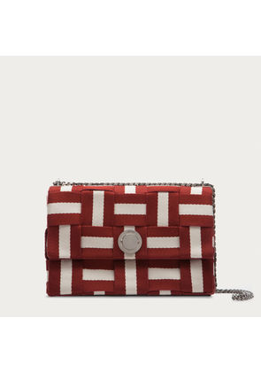 Bally Eclipse Web Medium Red, Women's woven fabric shoulder bag in Bally Red and beige