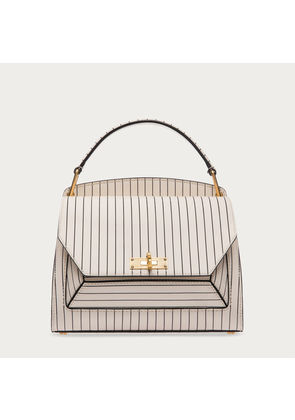 Bally B Loved Small White, Women's small calf leather top handle tote bag in bone
