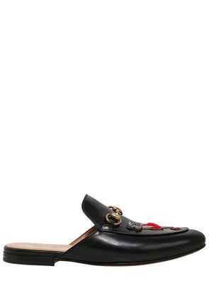 KINGS EMBROIDERED LEATHER MULE LOAFERS
