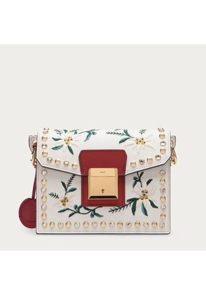 Bally Grimoire Small White, Women's embroidered leather shoulder bag in off-white