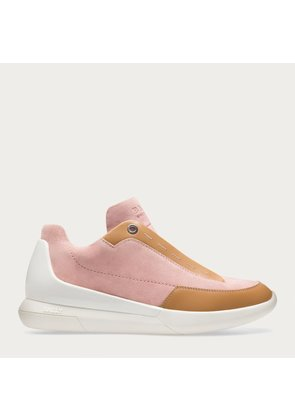 Bally Avryl Pink, Women's suede lace-up trainer in dusty pink