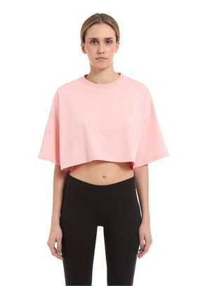 FLOCKED CROPPED HEAVY JERSEY T-SHIRT