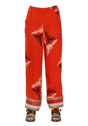 EMBROIDERED PRINTED SILK GEORGETTE PANTS