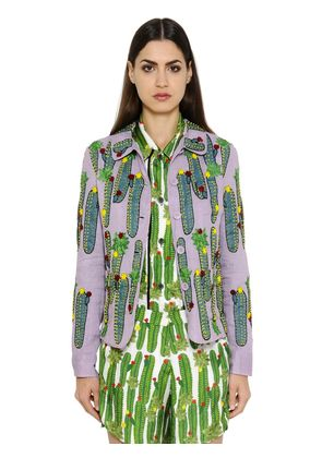 CACTUS EMBROIDERED COTTON ORGANDY JACKET