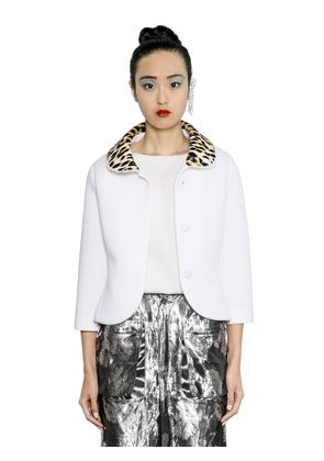 LEOPARD PRINTED COLLAR NEOPRENE JACKET