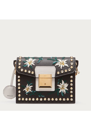 Bally Grimoire Small Black, Women's embroidered leather shoulder bag in black