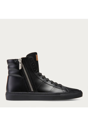 Bally Hensel-Fo Black, Men's leather high-top trainers in black